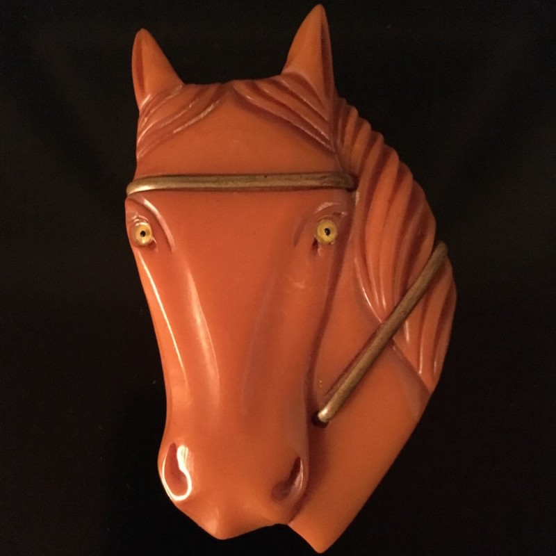 Bakelite Horse Head Pin
