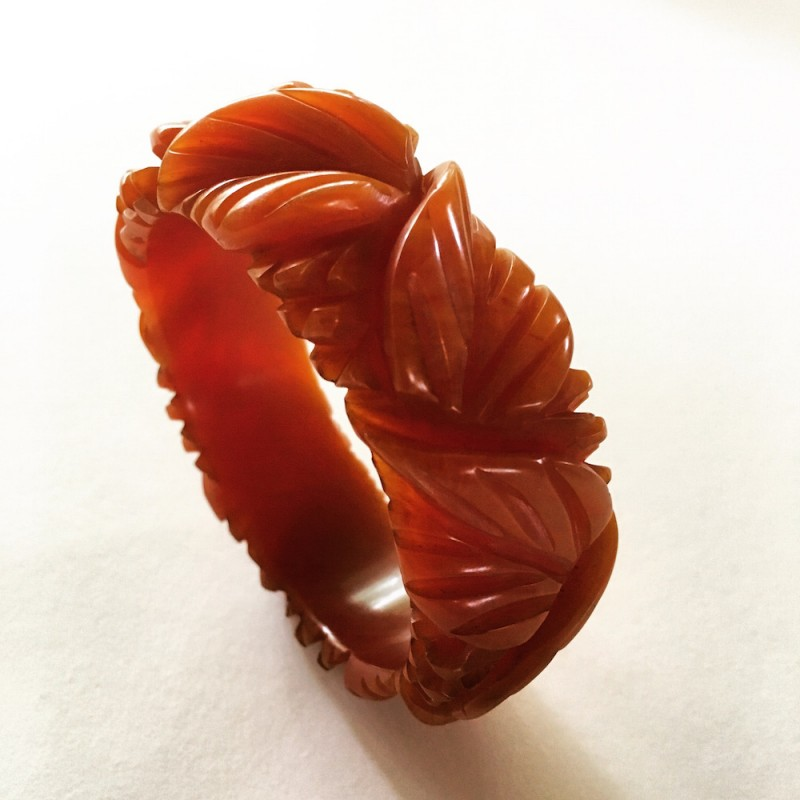 Carved Bakelite Leaf Bangle